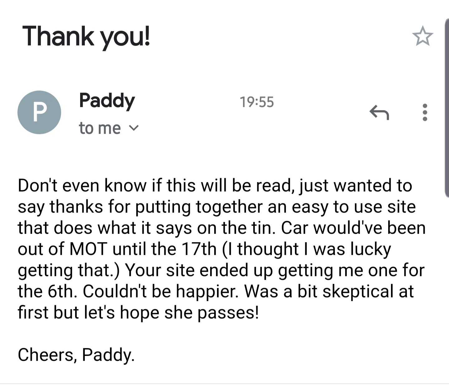 Testimonial from Paddy